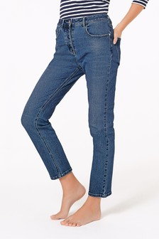 High Waist Straight Ankle Jeans