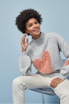 Fluffy Heart Jumper