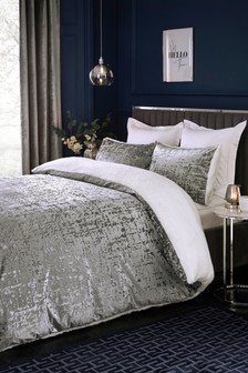 Crushed Velvet Fleece Reverse Duvet Cover and Pillowcase Set