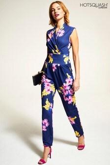 HotSquash Blue Floral Straight Leg Jumpsuit