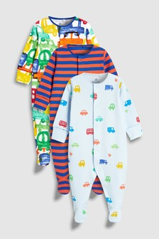 Cars And Stripe Sleepsuits Three Pack (0mths-2yrs)