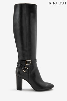 Ralph Lauren Black Leather Heeled Boots