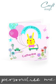 Personalised Rabbit Birthday Single Card by Croft Designs