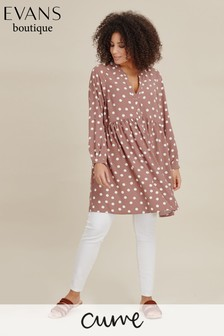 Evans Brown Curve Spot Gathered Tunic