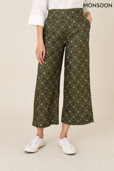 Monsoon Green Marnie Printed Linen Culottes