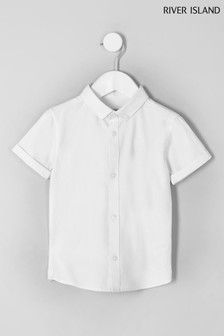 River Island White Short Sleeve Twill Shirt
