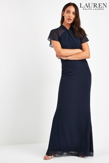 Lauren Ralph Lauren® Navy Ravenly Chiffon Evening Dress