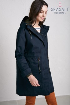 Seasalt Blue Fathom Polperro 3 Season Coat