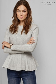 Ted Baker Light Grey Peplum Knit Jumper