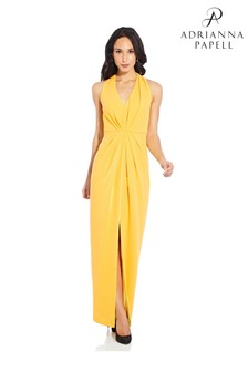 Adrianna Papell Yellow Pleated Crepe Gown
