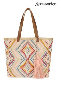 Accessorize Nude Layla Embroidered Beach Tote