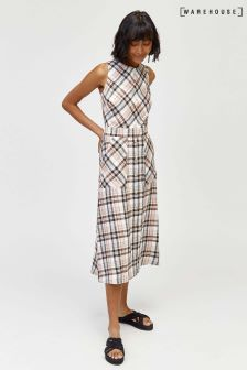 Warehouse Linen Check Dress