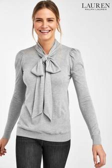 Lauren Ralph Lauren® Grey Kintana Neck Tie Jumper