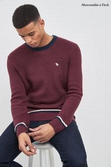 Abercrombie & Fitch Burgundy Cozy Varsity Icon Sweater
