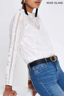 River Island Ivory Lace Frill Sleeve Top
