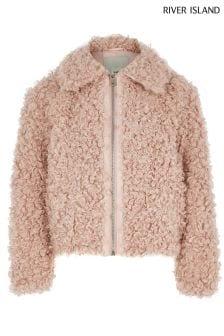 River Island Pink Wool Coat