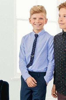 Элегантная рубашка с длинным рукавом из ткани добби и галстук с динозаврами и зажимом (комплект) (3-16 лет)