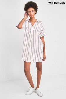Whistles Red And White Sabrina Stripe Dress