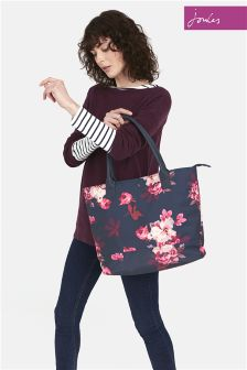 Joules Blue Printed Canvas Shoulder Bag