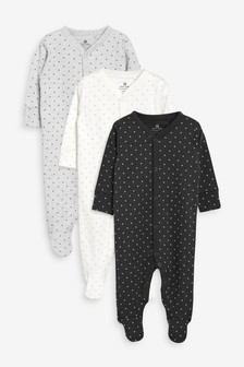 3 Pack Mini Stars Sleepsuits (0mths-2yrs)