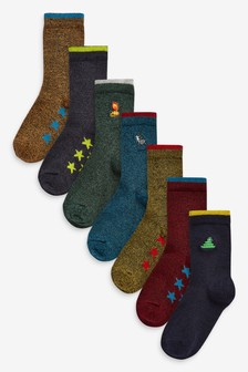 7 Pack Cotton Rich Embroidered Socks (Younger)