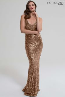 HotSquash Light Gold V-Neck Sequin Maxi Dress