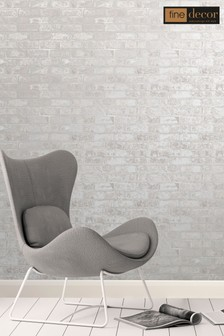 Fine Décor White Loft Brick Wallpaper