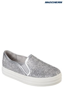 Skechers® Silver Rhinestone Ditsy Flower Design Slip On