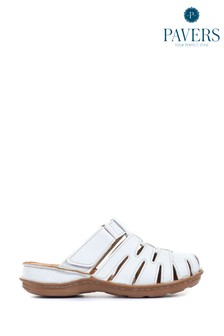 Pavers White Ladies Touch-Fastening Leather Clogs