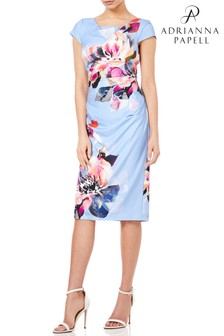 Adrianna Papell Blue Watercolor Magnolia Printed Cowl Neck Dress