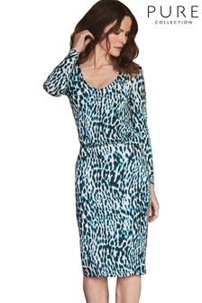 Pure Collection Leopard Jersey V-Neck Blouson Dress