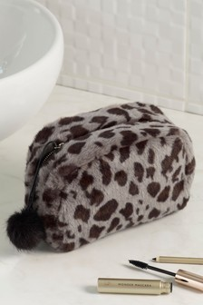 Leopard Faux Fur Cosmetic Bag
