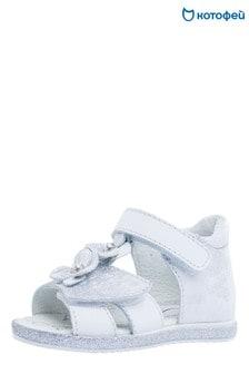 Белые сандалии с цветами Kotofey