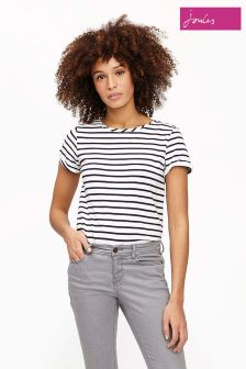 Joules Blue Cream Stripe Nessa Jersey T-Shirt