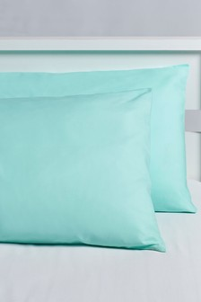 Set of 2 Micro-Fresh Plain Dye Pillowcases
