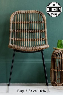 Set Of Two Rattan Dining Chairs By Hudson Living