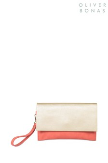 Oliver Bonas Red Lily Clutch Bag
