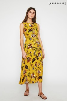 Warehouse Yellow Paisley Floral Midi Dress