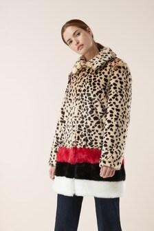 Signature Colourblock Faux Fur Coat