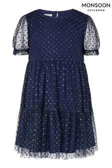 Monsoon Blue Glitter Spot Tiered Dress