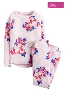 Joules Pink Marl Granny Floral Jersey Pyjama Set