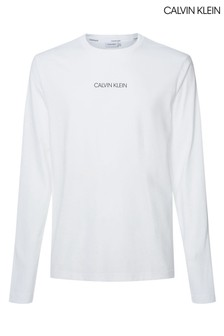 Calvin Klein White Liquid Logo Long Sleeve T-Shirt