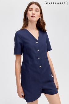 Warehouse Blue Linen Button Playsuit