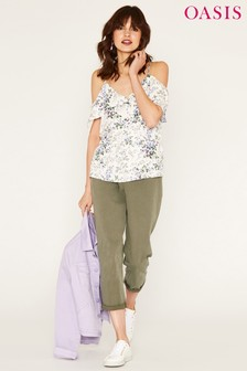 Oasis Natural Provence Trailing Ditsy Tie Sleeve Cami