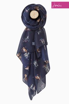 Joules Navy Dogs And Leaves Wensley Scarf