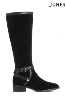 Jones Bootmaker Black Leather Flat Pointed Ladies Riding Boots