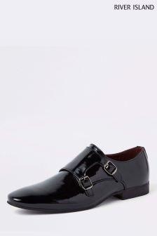 River Island Black Patent Monk Shoe