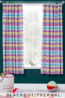 Rainbow Stripe Pencil Pleat Curtains