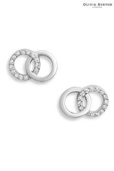 Olivia Burton Sterling Silver Bejewelled Interlink Earrings
