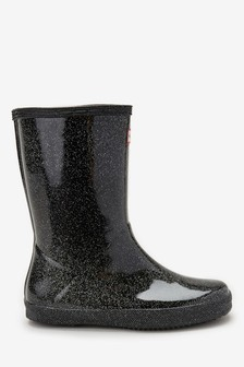 Hunter Black Glitter First Classic Welly
